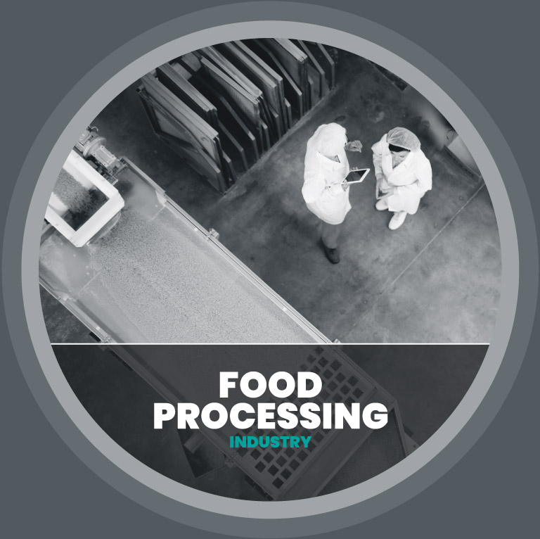 two people talking in a food processing factory