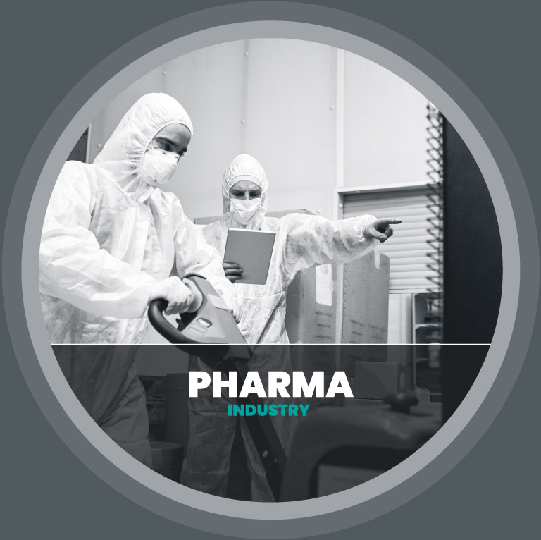 pharma employees in white protective suits moving products