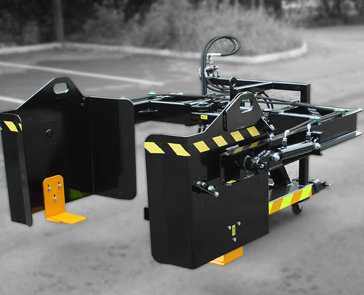 forklift bin tipping equipment with custom paint job