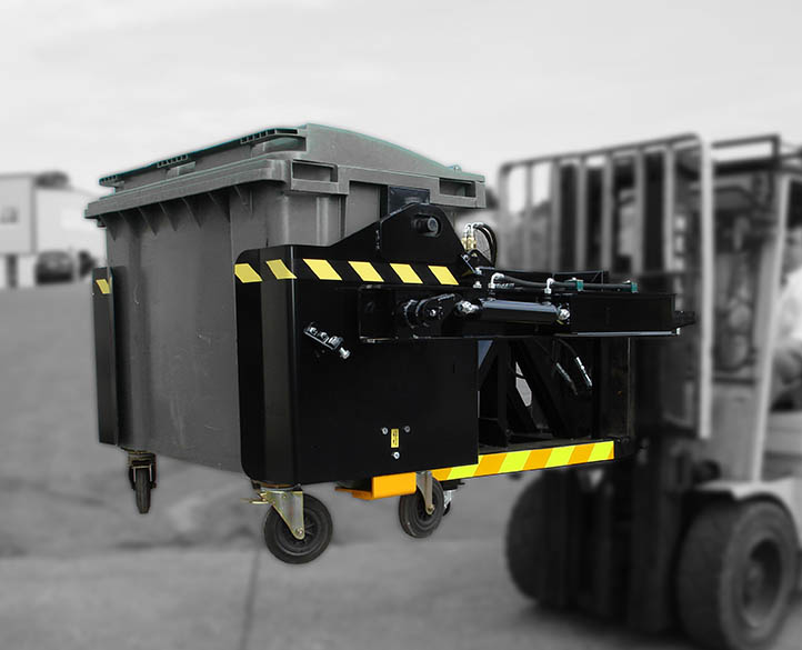 forklift bin tipper in action