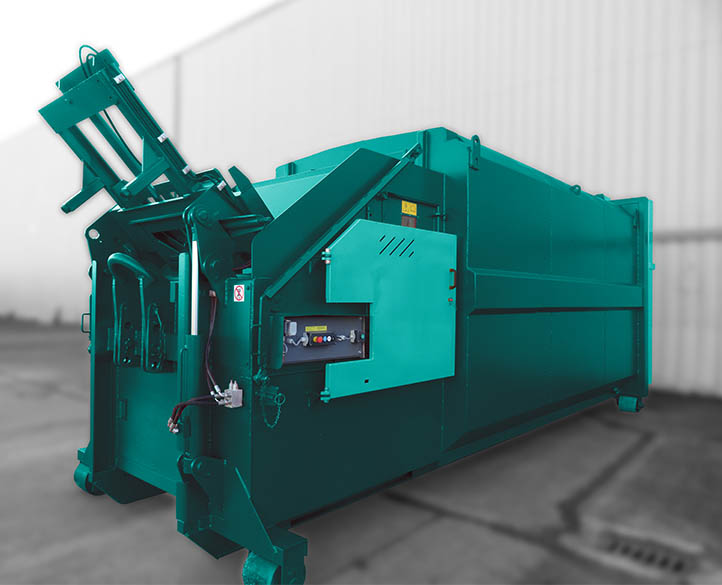 portable waste compactor with open top hopper for bulk loading